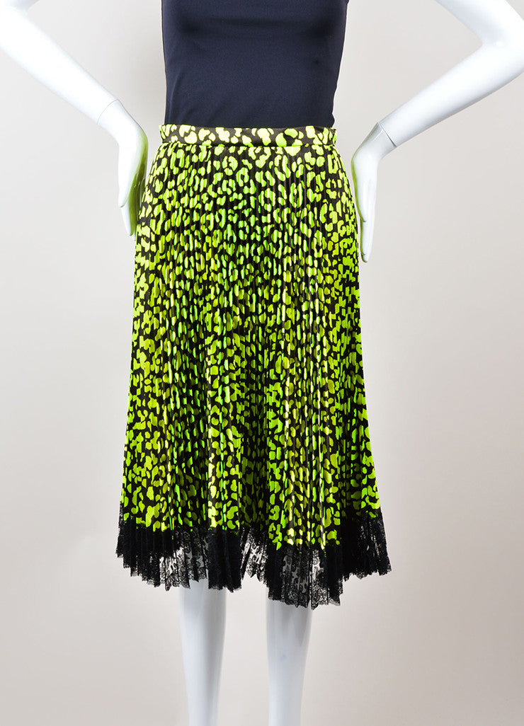 Christopher Kane  Neon Green and Black Lace Trim Pleated Satin Skirt Frontview