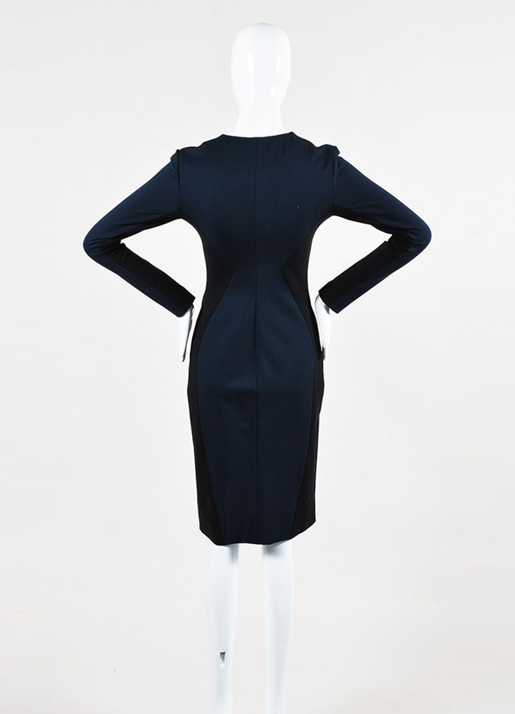 Cushnie et Ochs Black and Navy Stretch Zip Front Long Sleeve Dress Backview