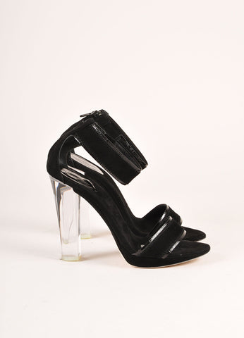 Donna Karan Collection Black Suede Lucite Sandal Heels Sideview