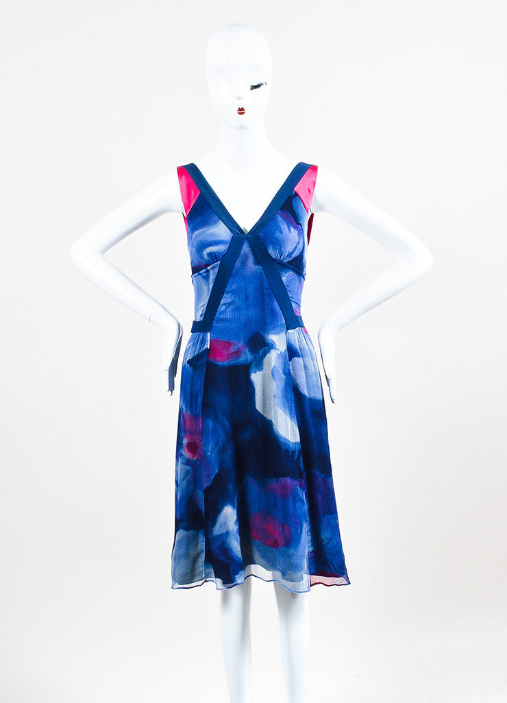 Blue and Pink Etro Silk Crinkled Chiffon Watercolor V-Neck Sleeveless Dress Frontview