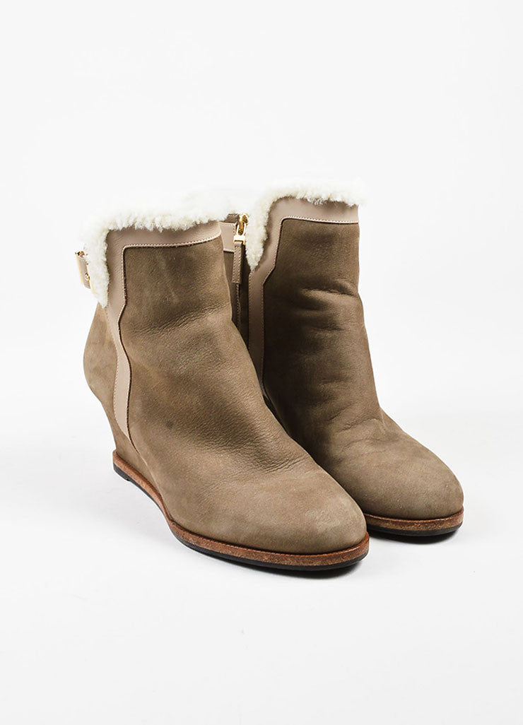 Fendi Taupe Shearling Lined Buckle Detail Wedge Booties Frontview