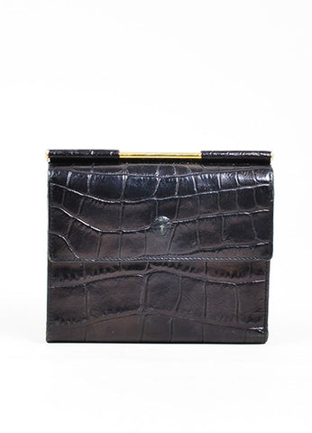 Black Gianni Versace Crocodile Embossed Leather Medusa Trifold Wallet Frontview
