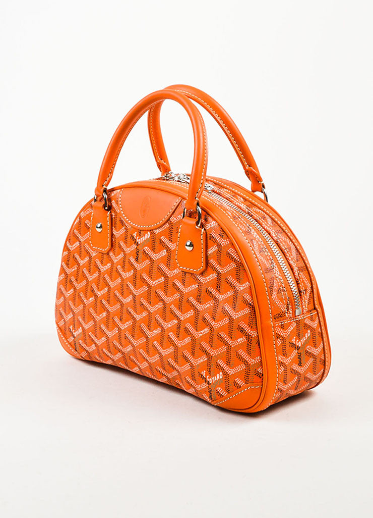 "Goyard Orange Coated Canvas and Leather Chevron Print ""Sainte Jeanne PM"" Satchel Bag Sideview"