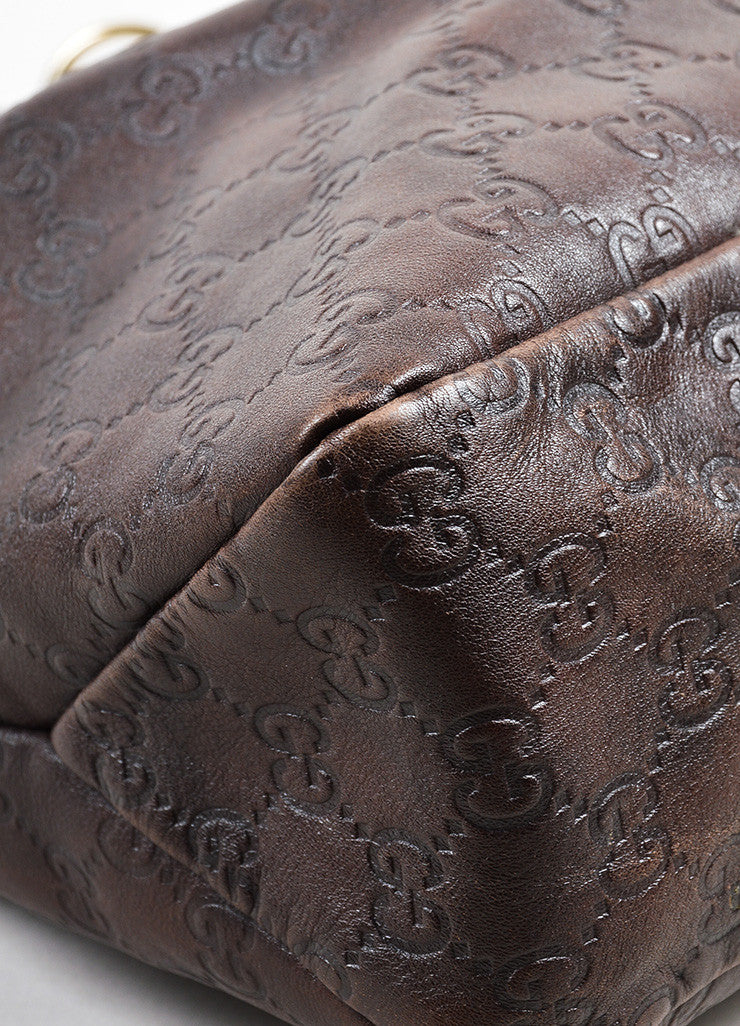 "Brown Gucci ""Guccissima"" Mogogram Leather Medium Horsebit Hobo Bag Detail"