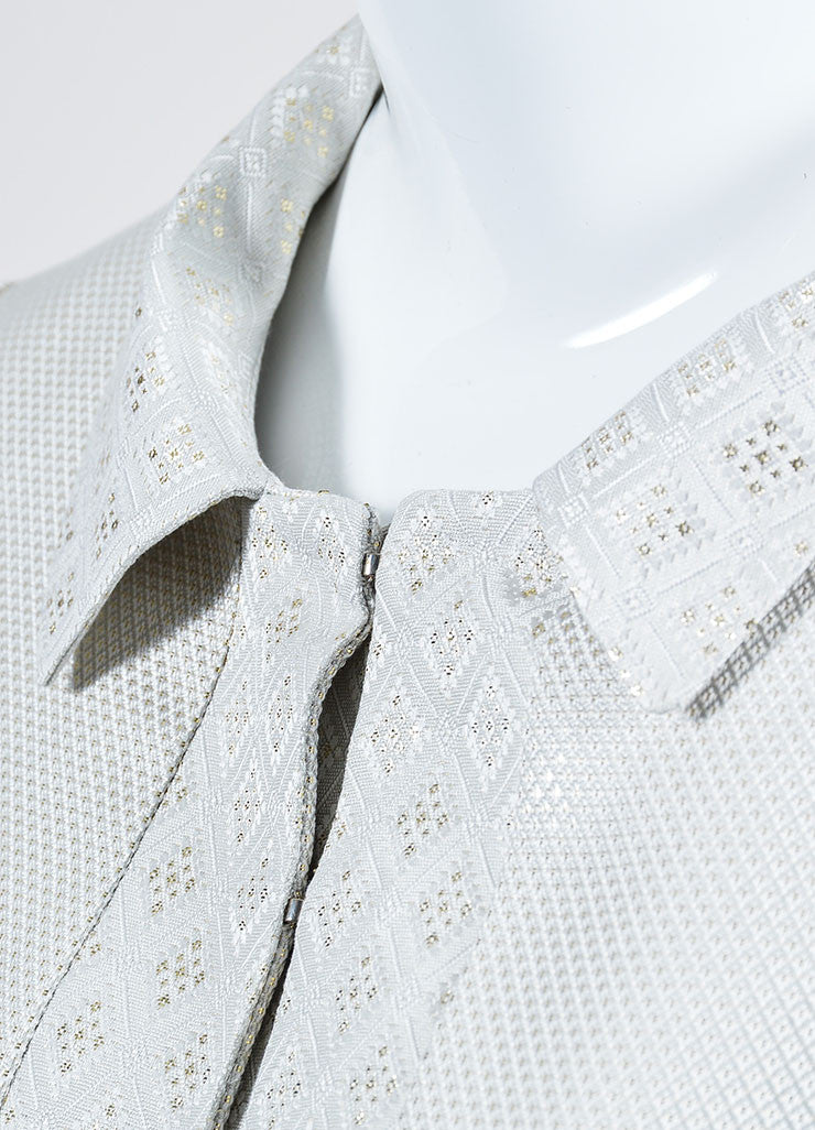 Cream and Metallic Gold Gucci Jacquard Weave Jacket Detail