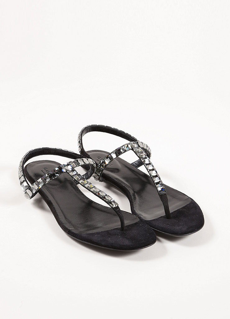Gucci Black Suede Crystal Jeweled Thong Sandals Front
