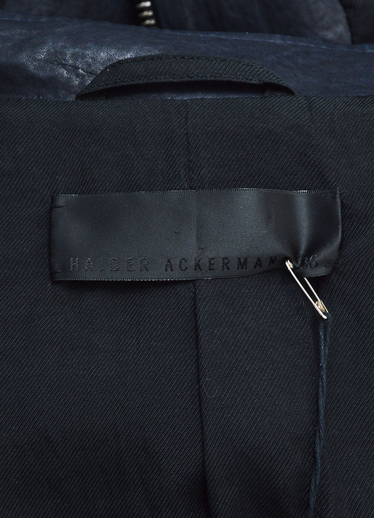 "Navy Haider Ackermann Leather Zipper Tailored ""Athena"" Jacket Brand"