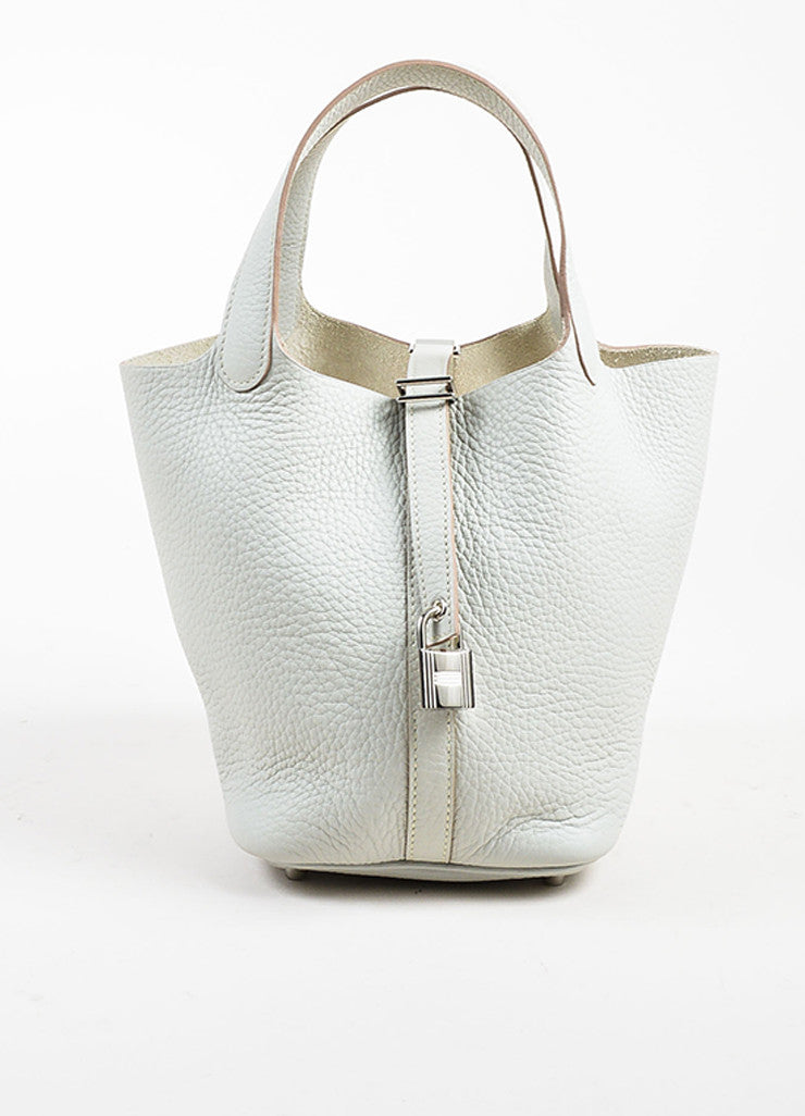 "Hermes Etoupe Grey Taurillon Clemence Leather ""Picotin Lock PM"" Tote Bag Frontview"