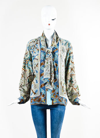 Hermes Blue and Multicolor Silk Floral Mosaic Print Long Sleeve Blouse Top Frontview