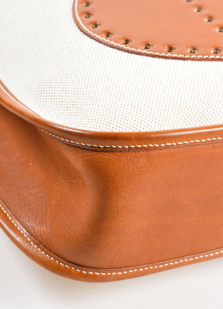 Hermes Cream Brown Canvas Leather 'H'Logo Crossbody Bag Detail 1