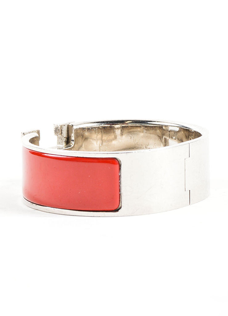 "Hermes Silver Palladium and Red Enameled ""Clic Clac"" H Bangle Bracelet Sideview"