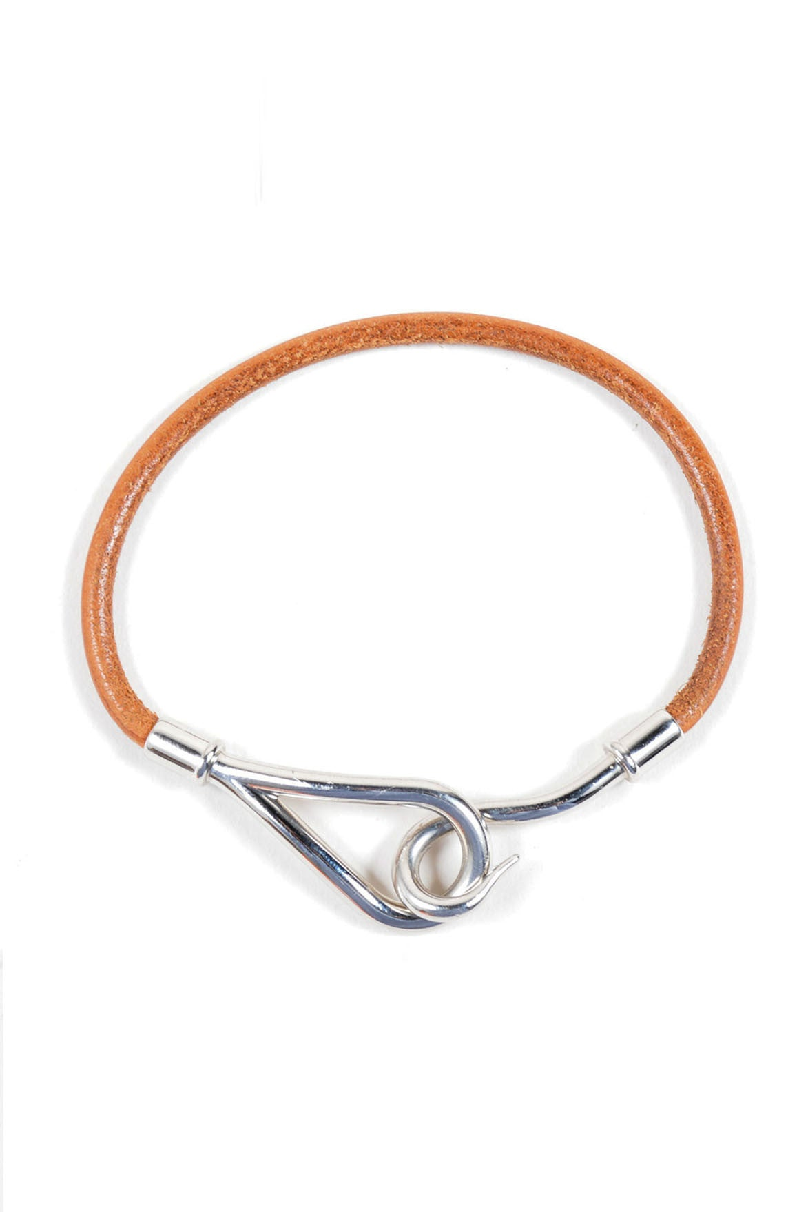 Brown Leather and Silver Toned Hermes Hooked Wrap Bracelet Frontview