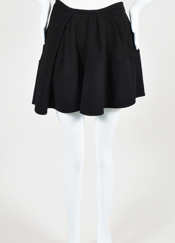 "Isabel Marant Black Pleated ""Rumer"" Asymmetrical Mini Skirt Frontview"