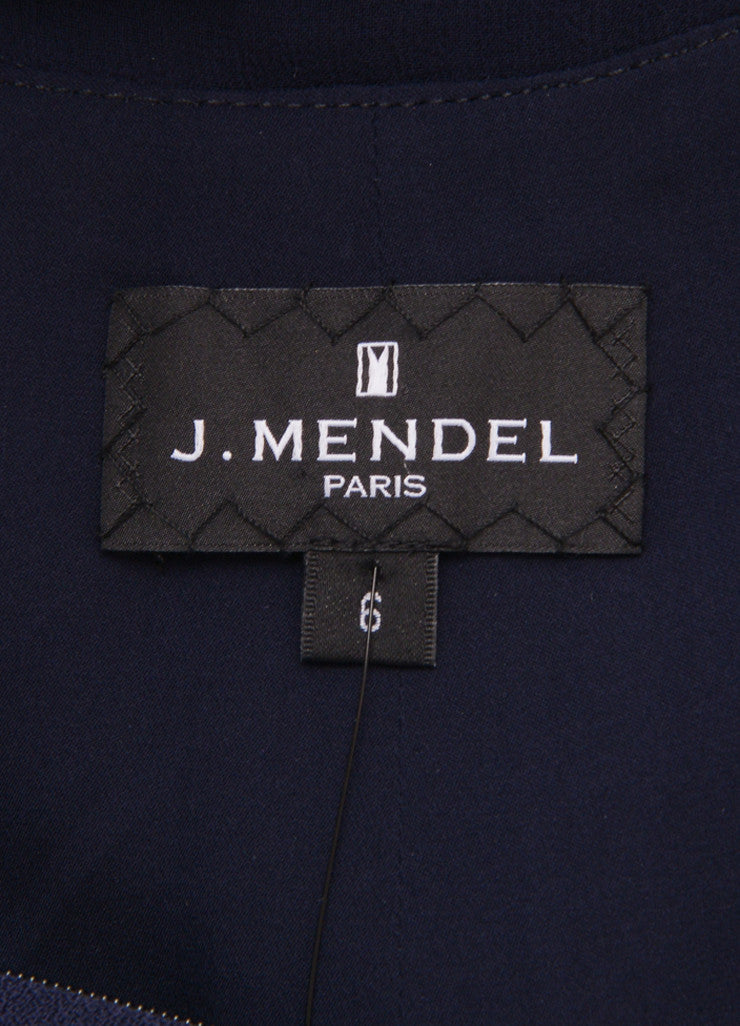 J. Mendel Navy Wool and Sheer Silk Chiffon Sleeveless Dress Brand