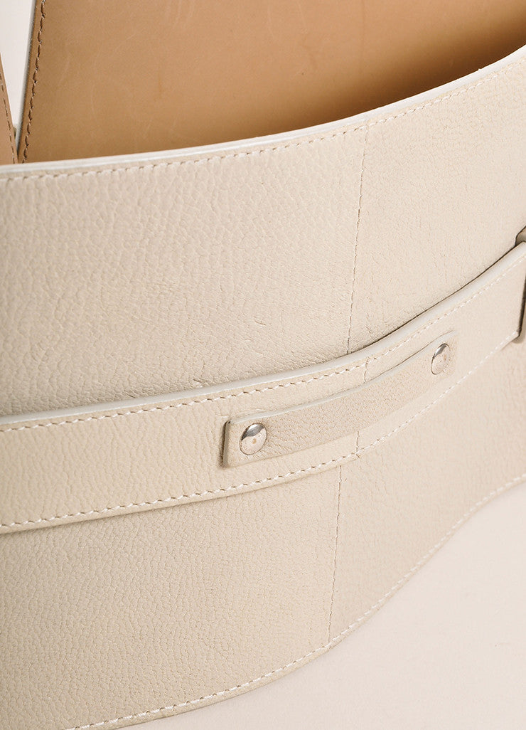 Jean Paul Gaultier Taupe and Grey Leather Wide Buckled Waist Belt Detail 2
