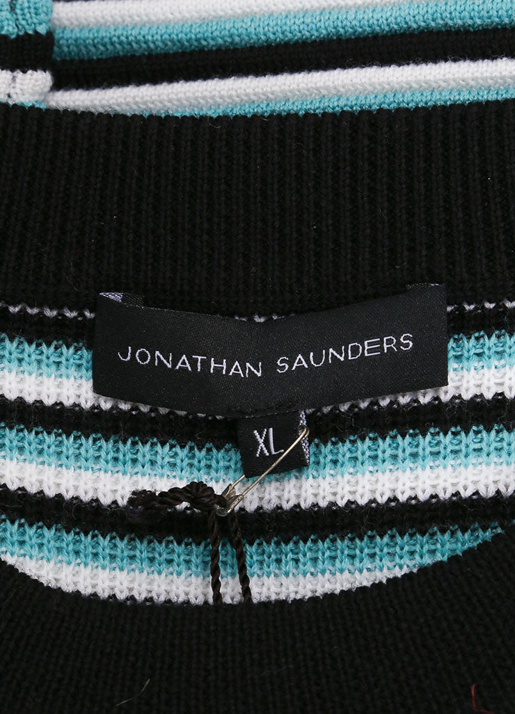 "New With Tags Aqua, Black, and White Stripe Wool ""Pye"" Long Sleeve Sweater"