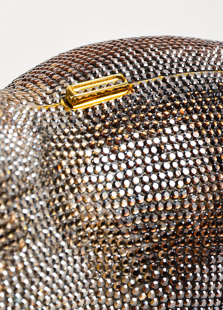 Brown Black Judith Leiber Crystal Rhinestone Seal Miniaudiere Clutch Detail