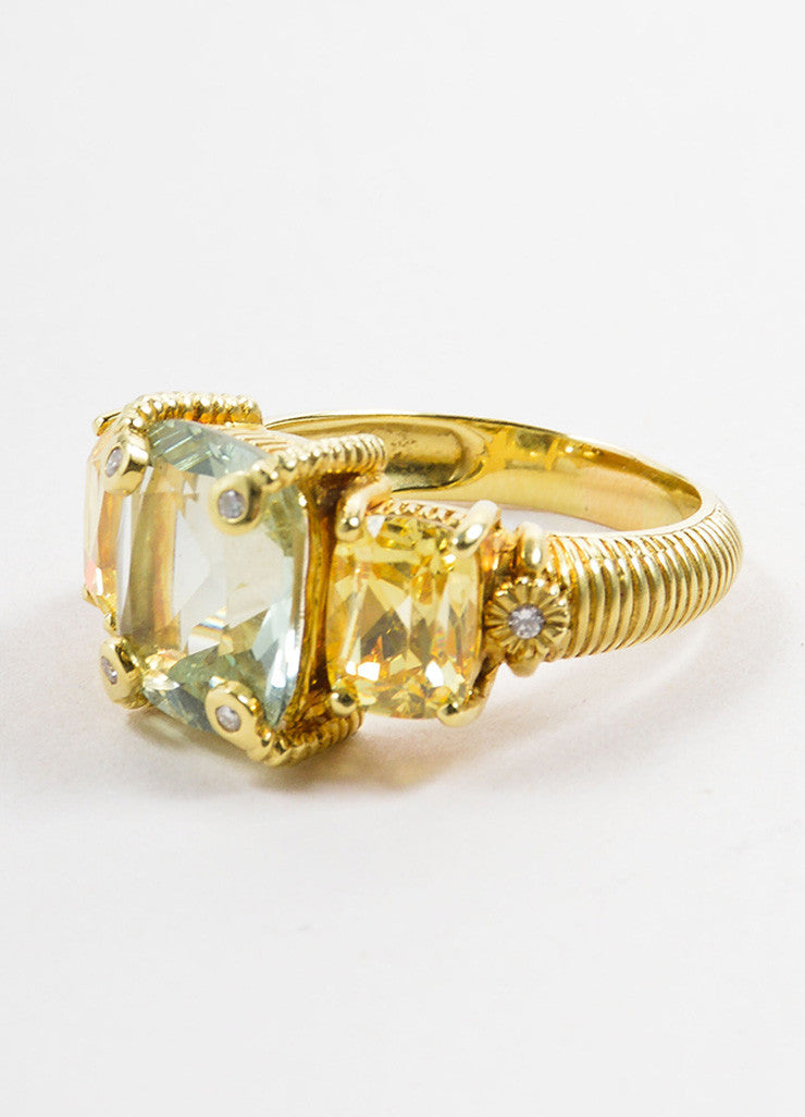 Judith Ripka Gold Toned, Green, and Yellow Quartz Diamond Cocktail Ring Detail