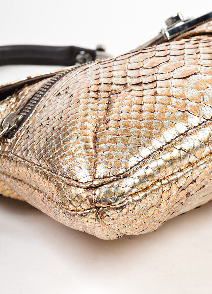 "Silver and Gold Metallic Lanvin Python Chain Handle ""Hero"" Bag Detail"