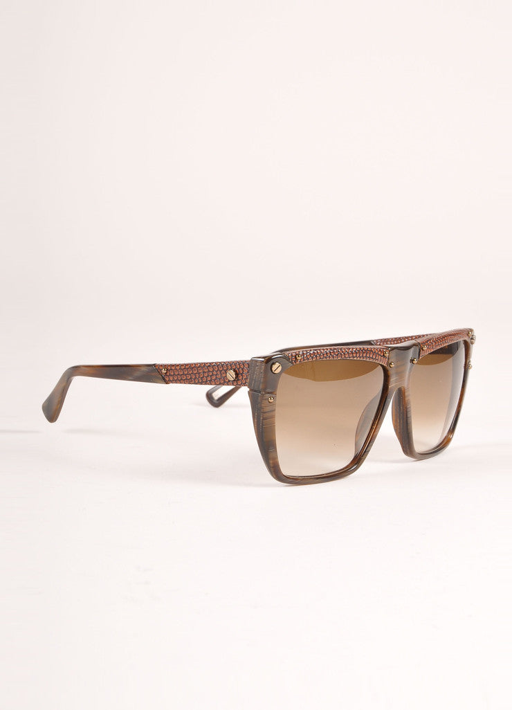 "Lanvin New With Tags Brown Snakeskin Plastic ""SLN 501"" Shield Sunglasses Sideview"