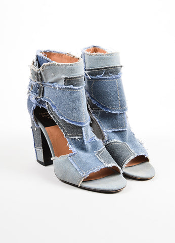 Laurence Dacade Blue Denim Frayed Patchwork Open Toe Cutout Booties Frontview