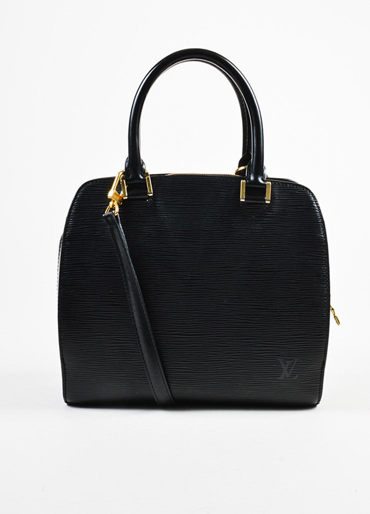 "Louis Vuitton Black and Gold Toned Epi Leather ""Pont-Neuf PM"" Crossbody Strap Bag Frontview"