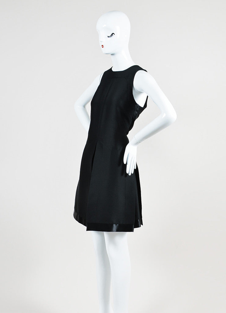 Black Louis Vuitton Silk Seamed Vented Pleat Sleeveless Dress Sideview