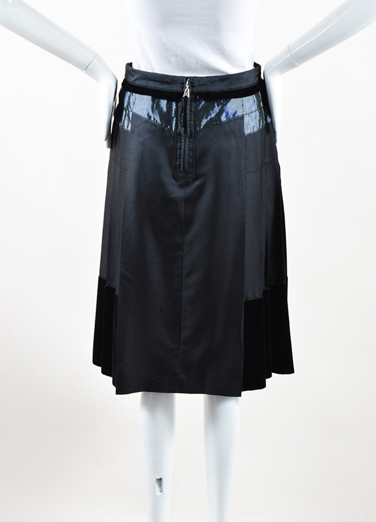 Louis Vuitton Black Silk and Wool Velvet Iridescent Trim Pleated Skirt Backview