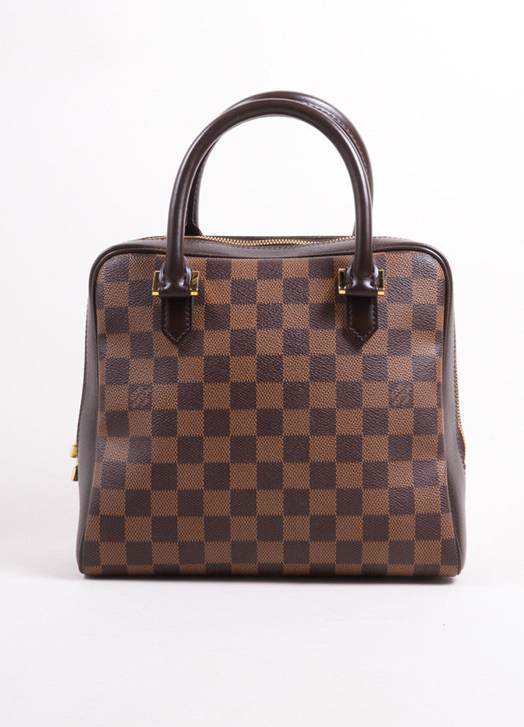 "Louis Vuitton Brown Canvas and Leather Checkered ""Damier Ebene Brera"" Tote Bag Frontview"