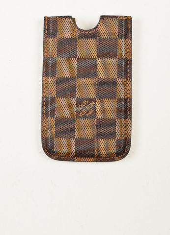"Louis Vuitton Brown ""Ebene"" Coated Canvas Damier iPhone 4 Case Frontview"