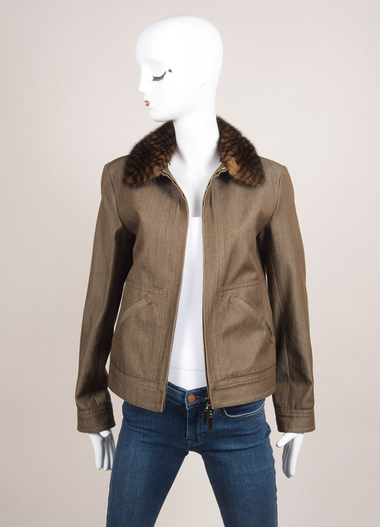 Louis Vuitton Brown and White Wool and Denim Blend Removable Fur Collar Jacket Frontview
