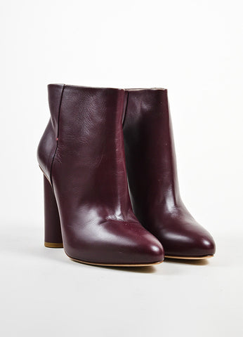 Maiyet Bordeaux Leather Almond Toe Pull On Ankle Booties Frontview