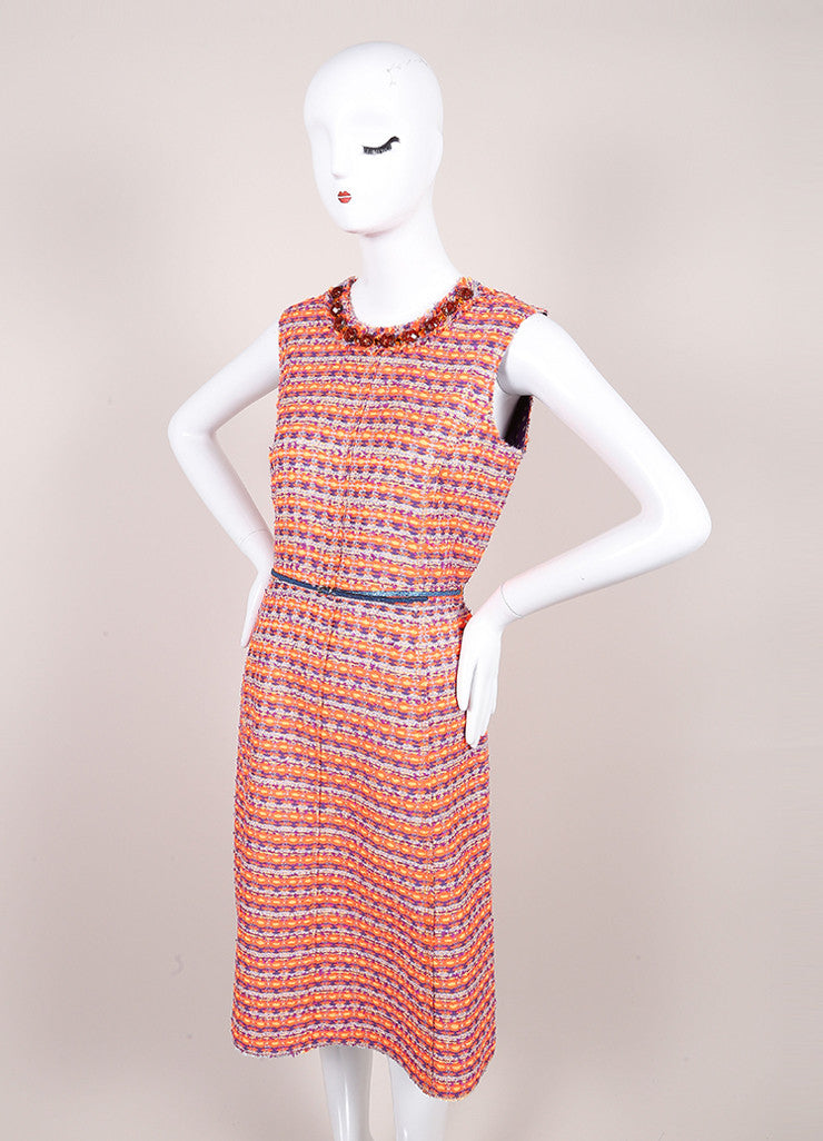 Marc Jacobs New With Tags Orange, Purple, and Multicolor Woven Tweed Belted Dress Sideview