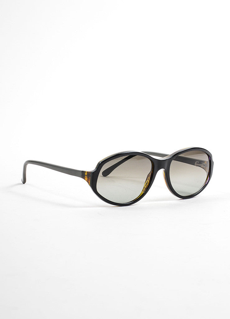 "Marni Black and Grey Tortoise Frame Oval ""MA053S"" Sunglasses Sideview"