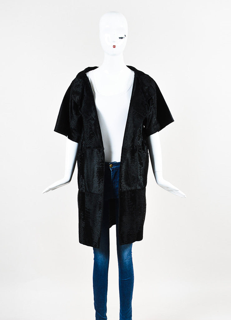 ¥éËMarni Black Pony Hair Fur Patched Wrap Front Short Sleeve Coat Frontview