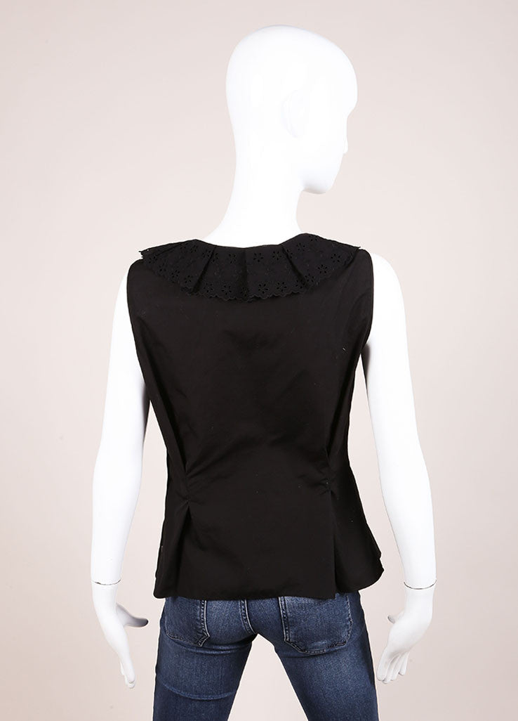 Nina Ricci Black Eyelet Ruffle Trim Sleeveless Cotton Top Backview