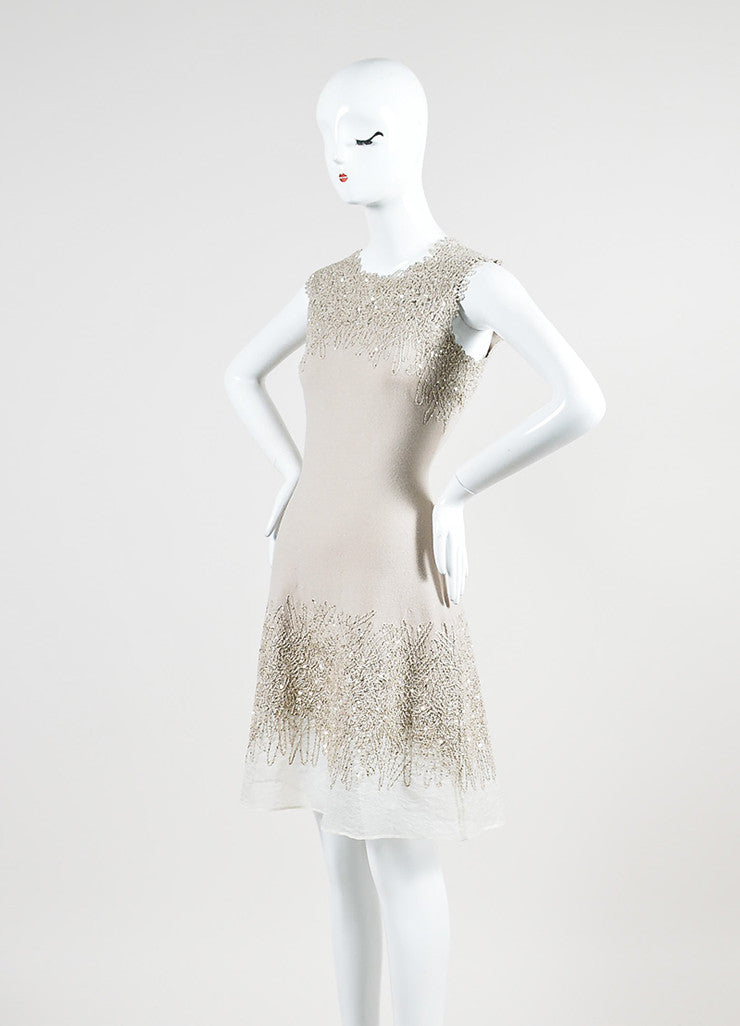 Beige Oscar de la Renta Wool and Silk Blend Embroidered Sequin Sleeveless Dress Sideview