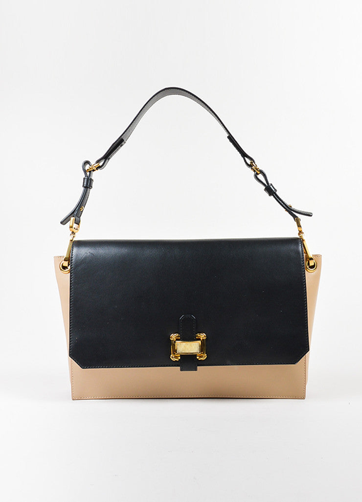 "Black and Tan Oscar de la Renta Leather ""Clara"" Stone Shoulder Bag Frontview"