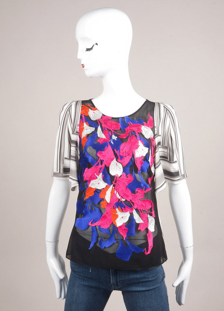 "Peter Pilotto New With Tags Multicolor Floral Embroidered Silk ""Cornelia"" Top Frontview"