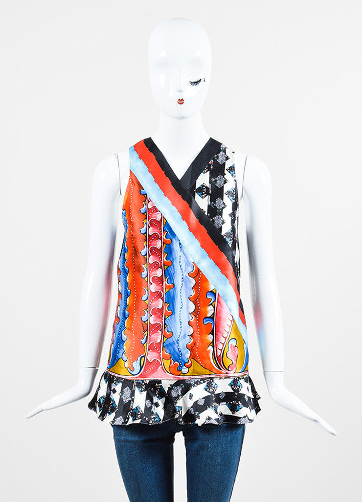 Peter Pilotto Multicolor Silk Printed Sleeveless Ruffle Hem Top Frontview