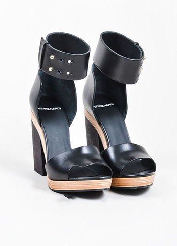 Black Pierre Hardy Leather Wooden Block Heel Sandals Frontview