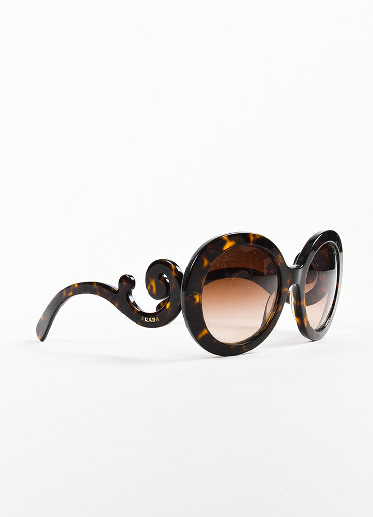 "Brown & Yellow Prada Tortoise Shell SPR 27N Round ""Baroque"" Sunglasses Front"