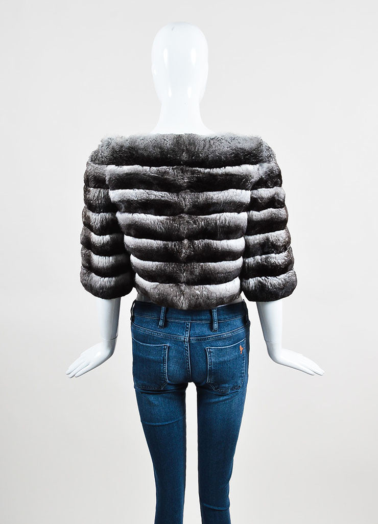 Prada Grey and White Chinchilla Fur Channeled Cropped Short Sleeve Jacket Backview