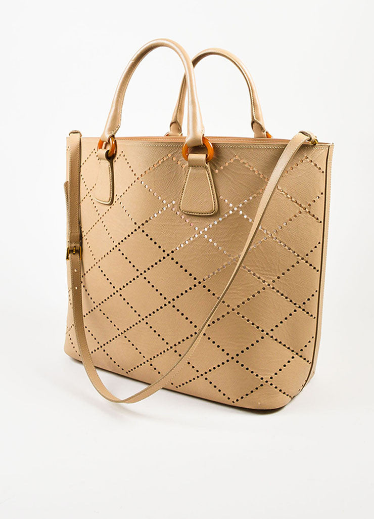 "Prada Nude Saffiano Leather Perforated ""Fori"" Tote Bag Sideview"