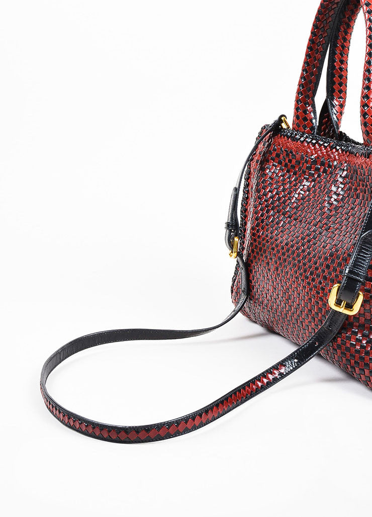 "Prada ""Rubino"" Red and Black Leather Woven Top Handle Cross Body ""Madras"" Satchel Bag Detail 3"