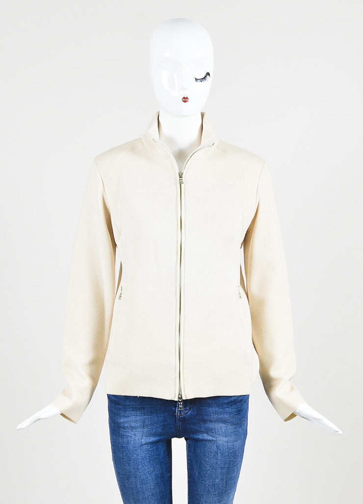 Prada Sport Cream Wool Waffle Knit Zip Up Long Sleeve Sweater