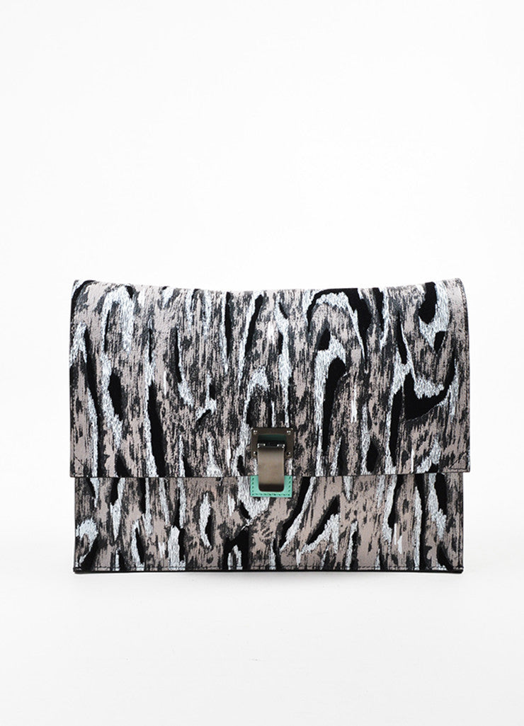 "Proenza Schouler Grey Leather Moire Flocked Print Large ""Lunch Bag"" Clutch Bag Frontview"