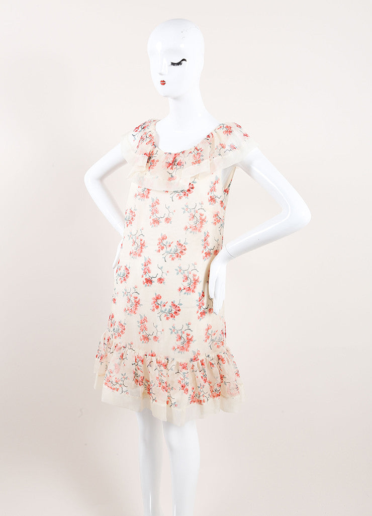Red Valentino New With Tags Cream and Pink Floral Print Silk Ruffle Sleeveless Shift Dress Sideview