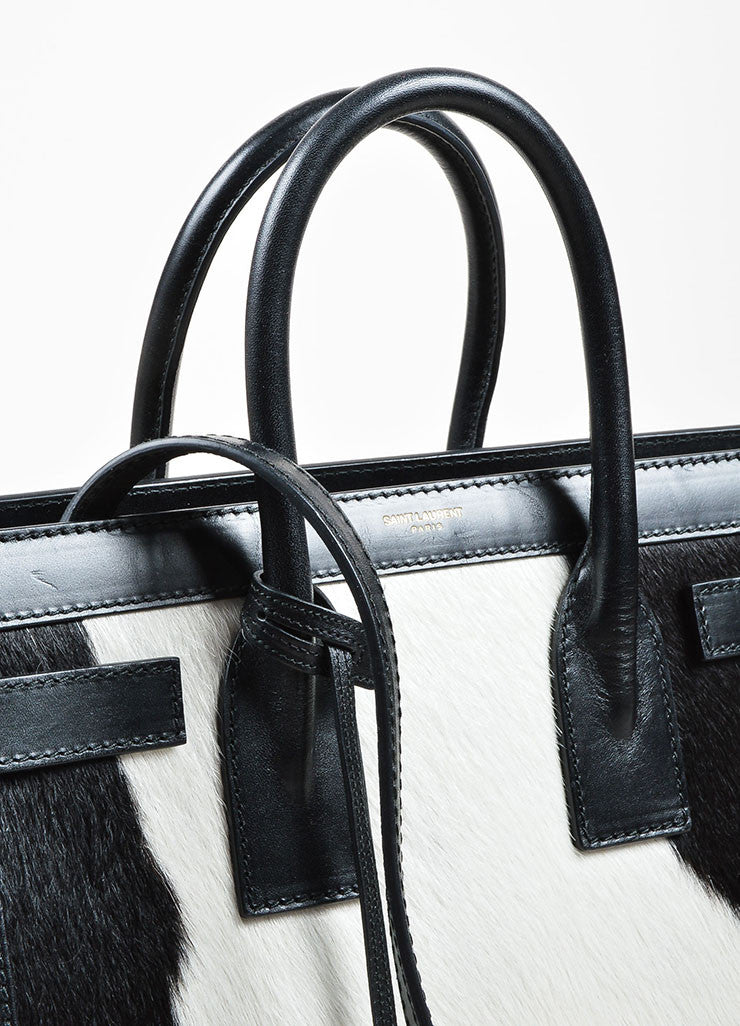 "Black and White Pony Hair Leather Saint Laurent ""Small Sac De Jour"" Tote Bag Detail 3"