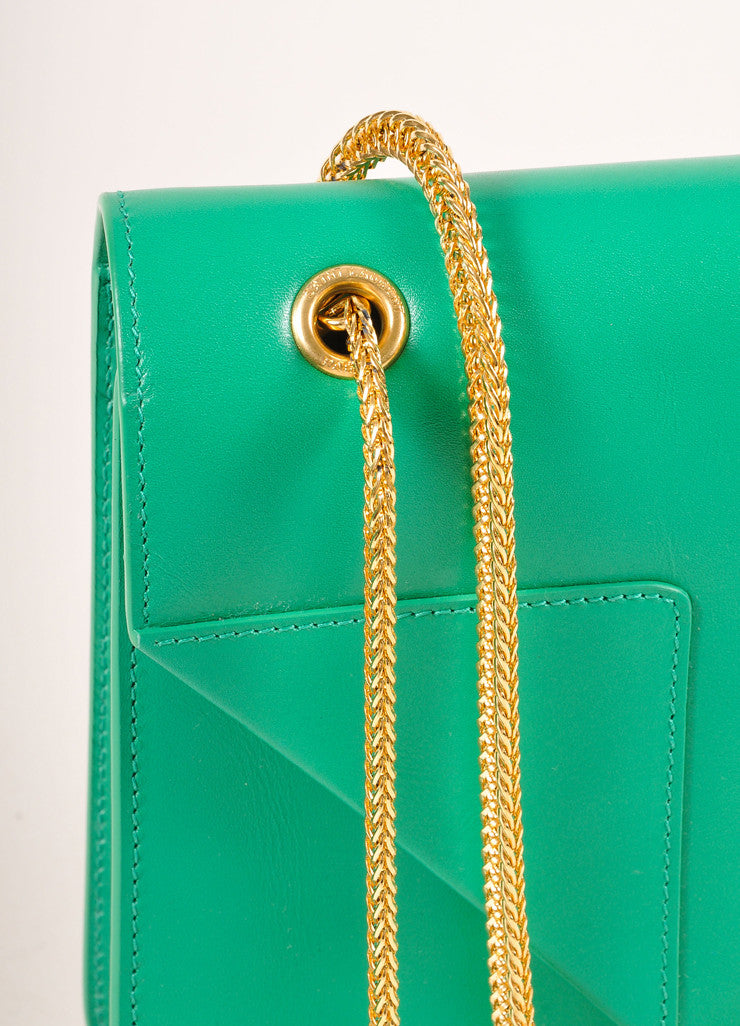 "Saint Laurent New With Tags Green Leather ""Borsa Betty 2"" Medium Chain Hanbag Detail 3"